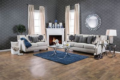 Lela Sofa Loveseat Living Room Set Beige Sloped Arm Contemporary Modern Design