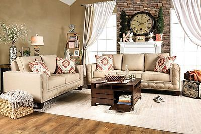 Clover Sofa and Loveseat Beige Track Arm Living Room Set Contemporary Modern