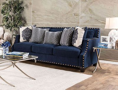 Lela Sofa Navy Nailhead Sloped Arm Contemporary Modern Design