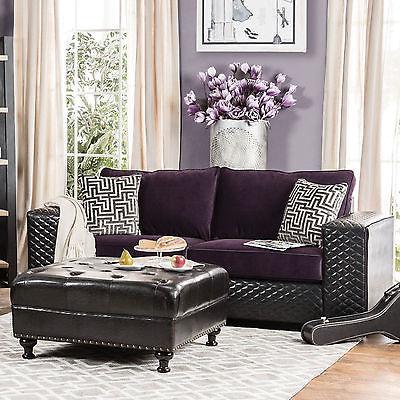 Claire Black and Purple Diamond Tufted Sofa