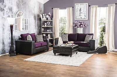 Claire Black and Purple Diamond Tufted Sofa Set Contemporary Modern Design