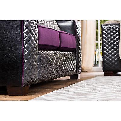 Claire Black and Purple Diamond Tufted Loveseat Conemporary Modern Design