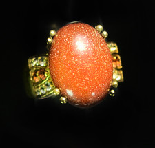 Huge Goldstone womens ring Gold Flakes cz accents jewelry  mystical astronomer a - $40.00