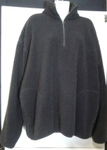 Nautica Fleece Quarter Zip Black Pullover Top Sweatshirt Large L Noodie - $14.01