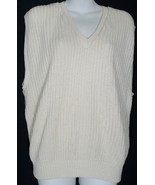 Vintage Banana Republic Vest Size Large L V-Neck Beige Cotton Knit 80's - $9.49