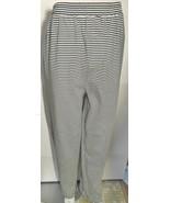 Vintage Ann Taylor Studio Pants Large L Black White Stripe Cotton Elasti... - $14.01