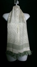"Echo Silk Oblong Scarf Polka Dot Stripe Japan Ivory Fringe 11 x 54.5""  - $12.19"