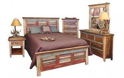 Queen Cabana Multi Colored Louvered Bedroom Set Bed Dresser Mirror Nightstand