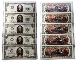 1976 BICENTENNIAL Colorized 2-SIDED U.S. $2 Bills * Lot of 5 Consecutive... - $99.95