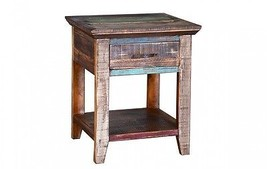 Multi Colored Cabana Nightstand Rustic Western Real Wood End Table - $262.35