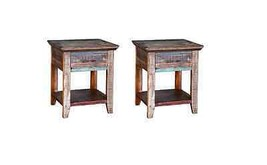Two Multi Colored Cabana Nightstands Rustic Western Real Wood End Table - $490.05