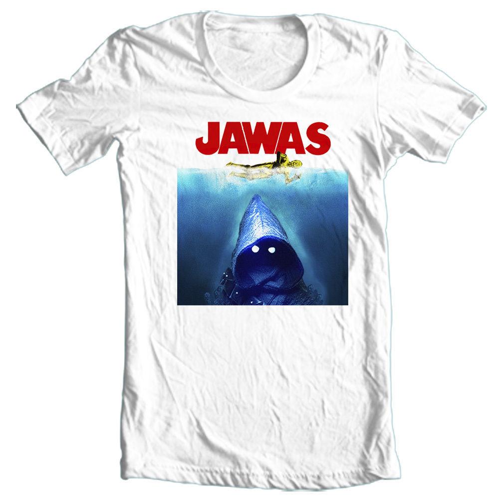 JAWAS Star Wars T-shirt  C3PO JAWS retro 70's Science Fiction horror movie tee