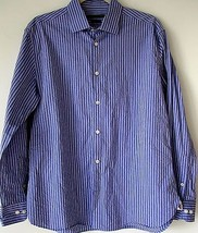 John Varvatos Shirt 16 36/37 Blue micro Plaid Slim Fit Mens Button Down  - $34.99