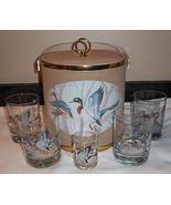 Vtg 6 pc Barware Game Birds Boxed Old Fash + Shot Glasses Ice Bucket MON... - $38.56