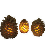 NIB 3 Piece LED Pine Cone Candle Set - £13.49 GBP