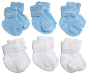 Primary image for Preemie-Newborn Blue & White Rock-A-Bye Bootie 6 Pack