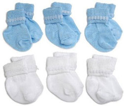 Preemie-Newborn Blue & White Rock-A-Bye Bootie 6 Pack - $12.00