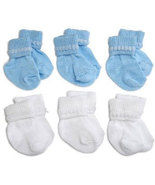 Preemie-Newborn Blue & White Rock-A-Bye Bootie 6 Pack - $12.00