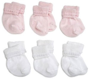 Primary image for Preemie-Newborn Pink & White Rock-A-Bye Bootie 6 Pack