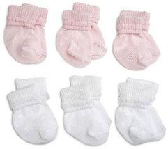 Preemie-Newborn Pink & White Rock-A-Bye Bootie 6 Pack - $12.00