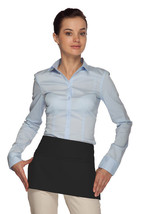 2 Pocket Waist Apron Black Waiter Waitress Bar Staff Craft Made in USA N... - $11.73