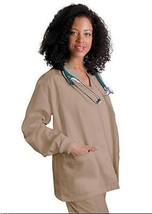 Adar Uniforms Khaki Warm Up Jacket Top Round Neck Large Women's New - $19.77