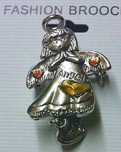 Angel Pin Brooch Pink Hearts Love Charm Hope Costume Pewter Finish Inspirational image 2