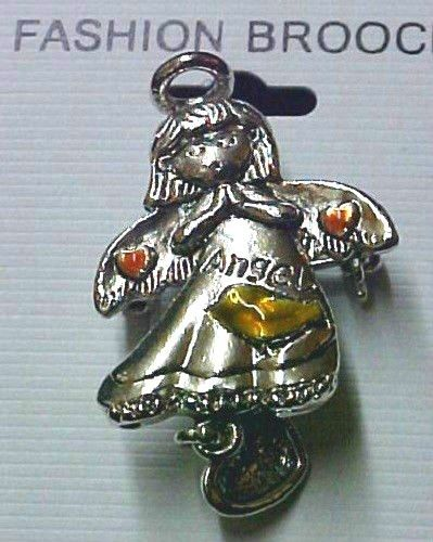 Angel Pin Brooch Pink Hearts Love Charm Hope Costume Pewter Finish Inspirational image 4