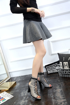 PS022 Genuine leather Martin boots, lace up front, keyhole back,size 34-39,grey - $98.00