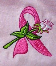 Breast Cancer T-Shirt S Pink Awareness Ribbon White Rose Pink S/S Unisex... - $21.53