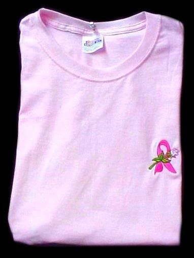 Breast Cancer T-Shirt S Pink Awareness Ribbon White Rose Pink S/S Unisex New