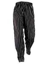 Chef Pants Black White Stripe XL Elastic Drawstring Waist Chef Designs New - $29.37
