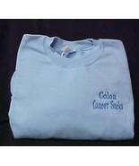 Colon Cancer Sucks Blue 5XL Embroidered Crew neck Sweatshirt Unisex New - $25.45