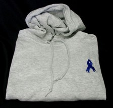 Colon Cancer Child Abuse Blue Ribbon Ash Gray Hoodie Sweatshirt Unisex L New - $31.01