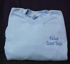 Colon Cancer Sucks Blue 2XL Embroidered Crew Neck Sweatshirt Unisex New - $25.45