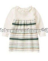 Gymboree All Spruced Up 3T Green Gold Striped Sweater Dress - $25.15