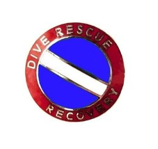 Dive Rescue Recovery Collar Pin Device Diving Team Nickel Scuba Diver Flag 68S2 image 1