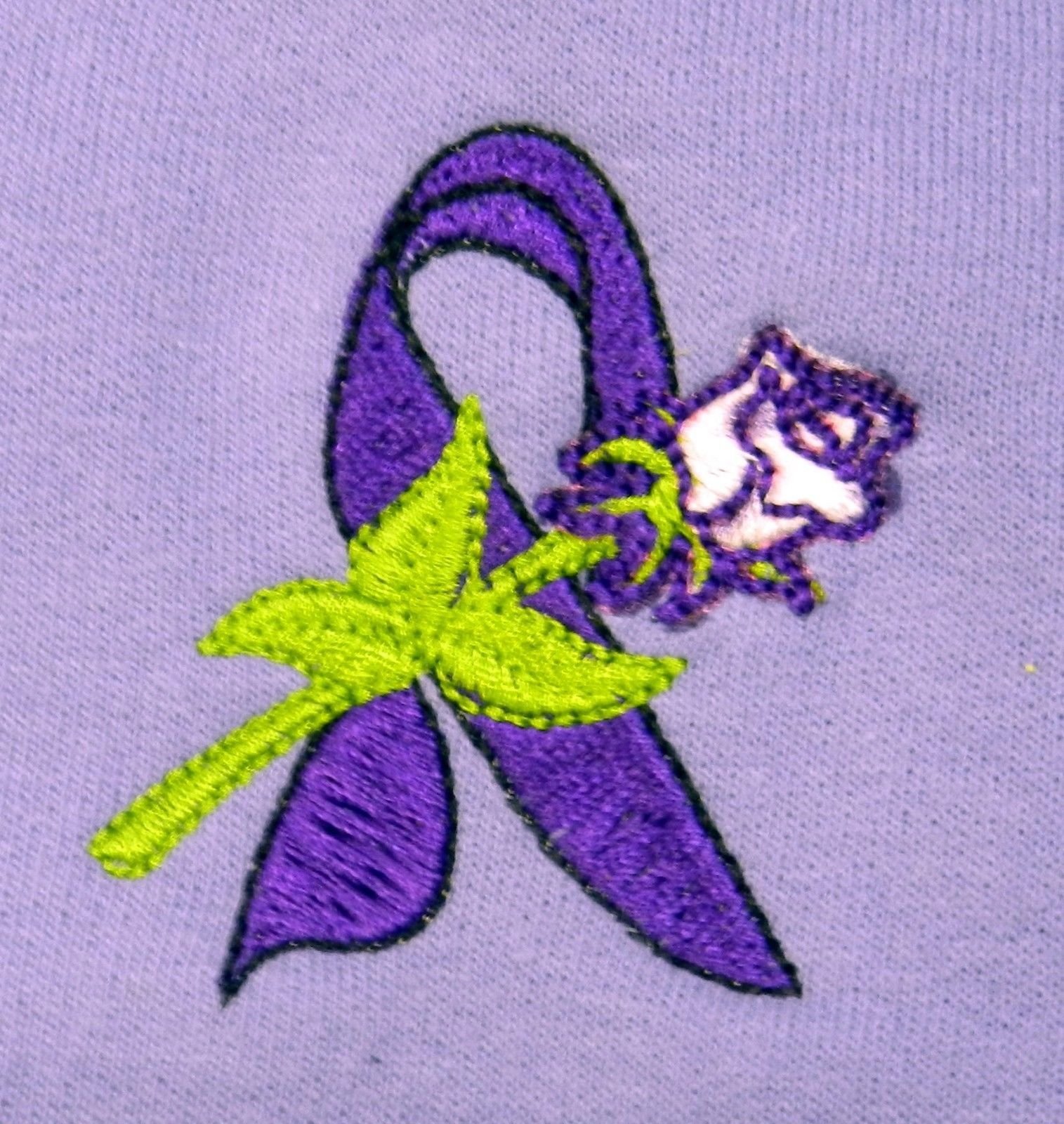 Primary image for Domestic Violence Purple Ribbon LG White Rose Lilac Hoodie Sweatshirt New Only 1