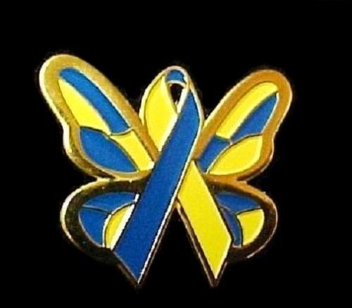 Down Syndrome Lapel Pin Awareness Blue Yellow Gold Ribbon Butterfly Hope Tac New image 2