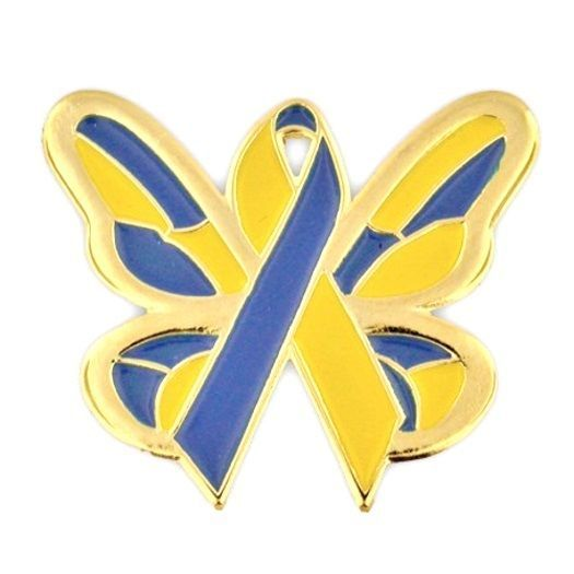 Down Syndrome Lapel Pin Awareness Blue Yellow Gold Ribbon Butterfly Hope Tac New image 3