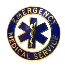 EMS Collar Device Pin Emergency Medical Service Blue Gold Trim Star of L... - $13.55