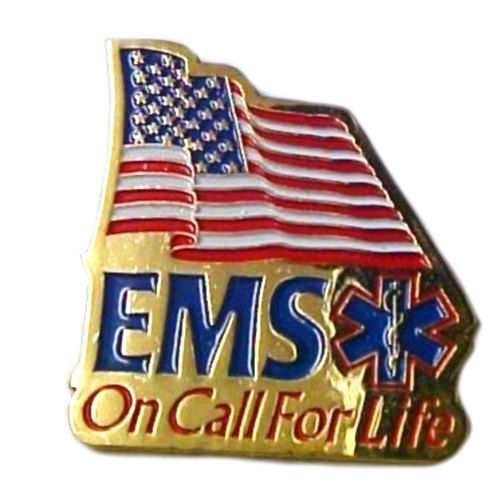 EMS On Call For Life Lapel Pin Tac American Flag Red White Blue Gold Plated New