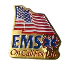 EMS On Call For Life Lapel Pin Tac American Flag Red White Blue Gold Pla... - $12.71