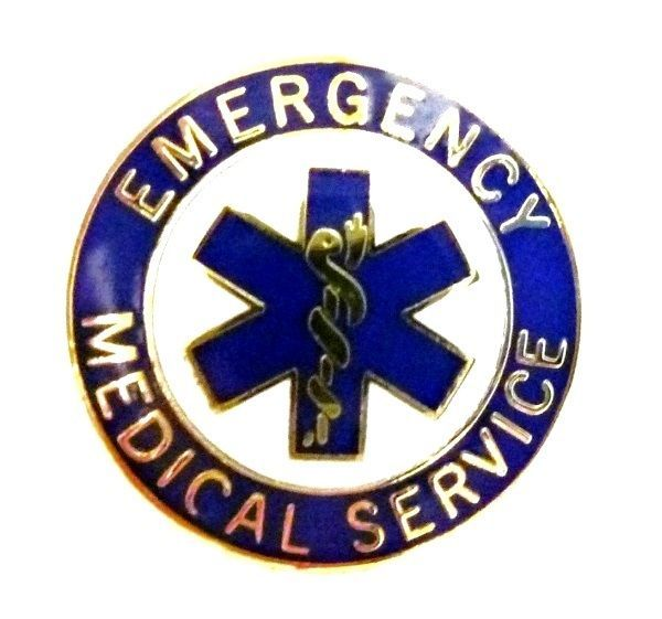 EMS Collar Device Pin Emergency Medical Service Blue Gold Trim Star of Life 54G2 image 6