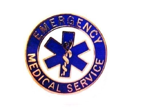 EMS Collar Device Pin Emergency Medical Service Blue Gold Trim Star of Life 54G2 image 2