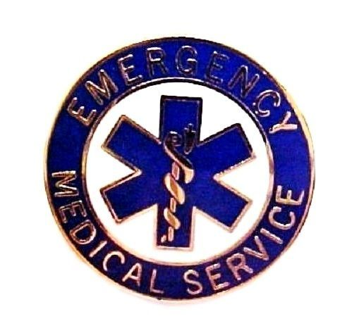 EMS Collar Device Pin Emergency Medical Service Blue Gold Trim Star of Life 54G2 image 3