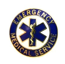 EMS Collar Device Pin Emergency Medical Service Blue Gold Trim Star of Life 54G2 image 9