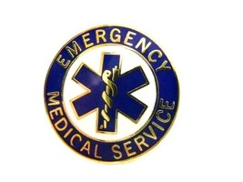 EMS Collar Device Pin Emergency Medical Service Blue Gold Trim Star of Life 54G2 image 8