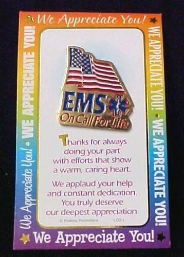 EMS On Call For Life Lapel Pin Tac American Flag Red White Blue Gold Plated New image 2