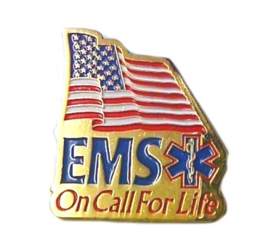 EMS On Call For Life Lapel Pin Tac American Flag Red White Blue Gold Plated New image 6